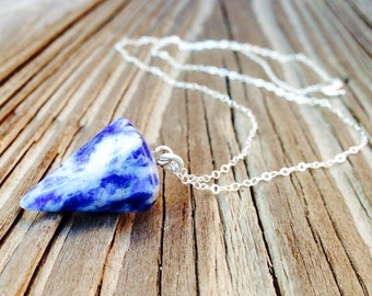 Sodalite Necklace - Blue Pendulum Jewellery - Sterling Silver Jewelry - Gemstone - Chain - Pendant