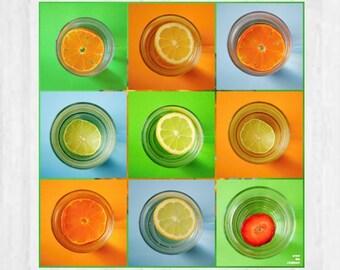 Citrus fruit print, Food photography, Fruit photography, Andy Warhol style, Kitchen art, Orange Green Blue, Modern art, Set of 9 prints