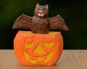 Carved Pumpkin with Bat, Folk Art, Halloween, Made in Ohio,  Halloween Shelf Decor, Halloween Art, Halloween collectible, Pumkin, Bat