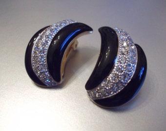 Vintage Signed Soleil Crescent Wave Clip Back Earrings