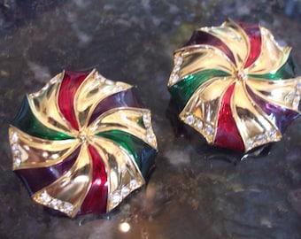 Vintage Signed Swarovski Guilloche Clip Back Earrings