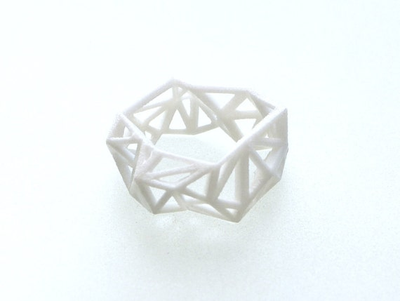faceted jewelry, geometric ring - Triangulated Ring in White. 3d printed. statement ring