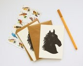 Horse Silhouette stationery pack of 5, hand stamped cards