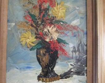 "VINTAGE 1971 MORRIS KATZ painting ""Vase of Flowers""."