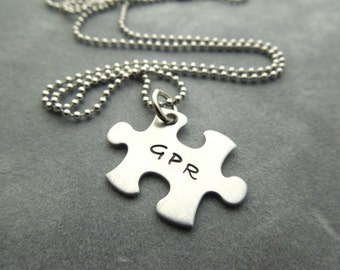 Personalized Puzzle pieces necklace hand stamped stainless steel 1 necklace