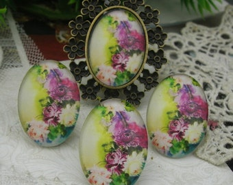 4pcs(18X25mm)  Handmade Photo Glass Cabochon (GL06)