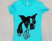 Teal Boston Terrier  Women's Tshirt