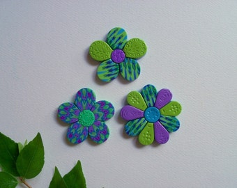 Refrigerator Magnets, purple green and blue polymer clay flowers