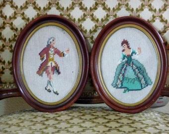 Pair Vintage Needlepoints Dancing