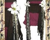 "BELLY DANCE hip & hair TASSEL clip ""Nougat Lily"" Tribal Fusion hip scarf belt Hair jewelry yarn falls Faery Fantasy Reenactment garb"