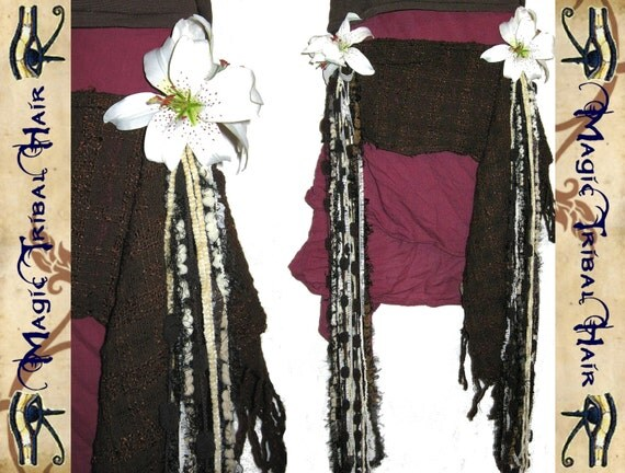 "BELLY DANCE hip & hair TASSEL clip ""Nougat Lily"" Tribal Fusion hip scarf belt Hair jewelry yarn falls Faery Fantasy Reenactment garb"