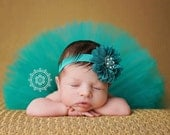 Newborn tutu, baby tutu, flower headband, matching set, you choose color, headband and tutu, infant tutu