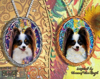 Papillon Jewelry Pendant - Brooch Handcrafted Porcelain by Nobility Dogs - Gustav Klimt and Van Gogh