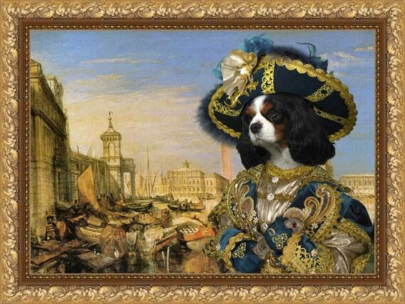 Cavalier King Charles Spaniel Art Charles Spaniel Dog Print Canvas Cavalier Portrait Cavalier Dog Gift Custom Dog Portrait Nobility Dogs