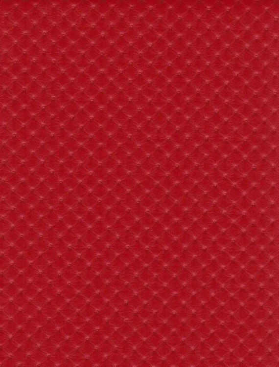 Red Perforated Distressed Upholstery Faux Leather Vinyl
