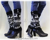 REINDEER ROMP black white knit  women legwarmers knit leg warmers boots legging  snowflake buttons leg warmers Catherine Cole Studio LW24
