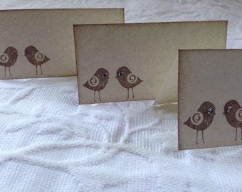 Set of 12 Love Bird Place Cards, Name Cards, Buffet Cards - Rhinestone Eyes - Wedding - Bridal Shower