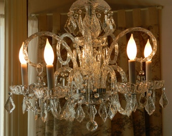 Fabulous OOAK Five Arm Crystal Chandelier With Vintage Plumes and Crystals