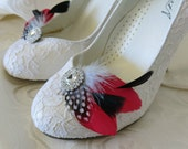 Feathered Feather Shoe Clips Rhinestone Accents Red Black Polka Dot Set of 2