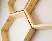 Set of Three Hexagon Shelves / / / Honeycomb Shelves, Modern decor, Geometric, Nursery Decor