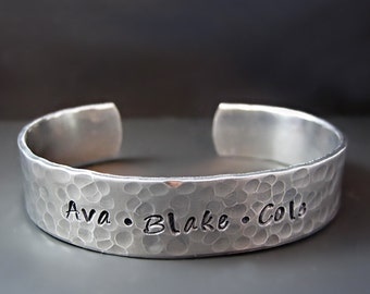 Custom Mother's  Bracelet - Children's Names -   Silver Bracelet - Personalized Cuff Bracelet