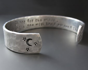 Silver Shoot for the Moon Bracelet - Hand Stamped - Custom