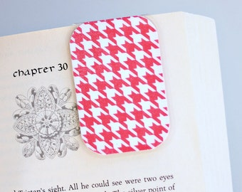 Magnetic Bookmark, Laminated, Pink and White Houndstooth, Ready To Ship