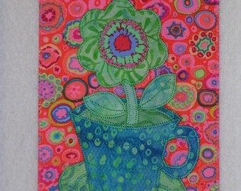 FLOWER  Cup of Flower  5 x 7 Art Quilt  hang or frame