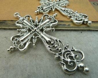 10pcs 42x63mm The Cross Silver Color Retro Pendant Charm For Jewelry /Pendants C3342