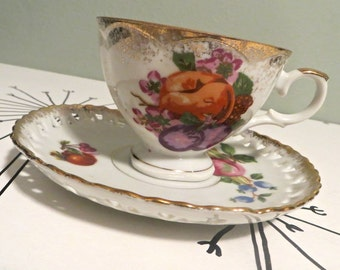 Tea Cup Enesco Tea Cup Fruit Teacup Bone China Teacup Porcelain Tea Cup Trees Tea Cup Vintage Teacup Cornucopia