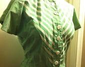 SALE Vintage Green White Stripe Blouse Small