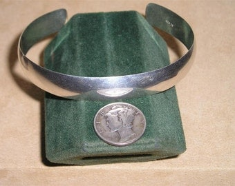 Vintage Sterling Silver Cuff Bracelet 1950's Signed SC Jewelry 3085