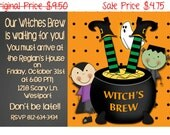 50% OFF SALE Halloween Party, Halloween Digital Invite, Witches, Spooky