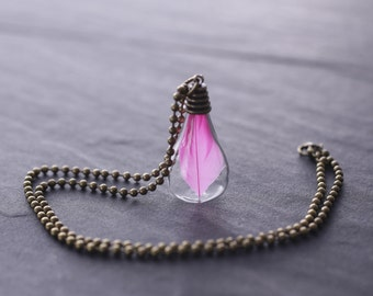 """Necklace  glas drop """"Light as a feather"""""""