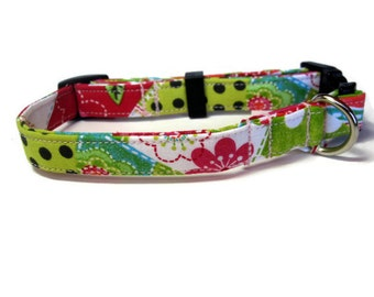 Pink and Green Patchwork Dog Collar size Small