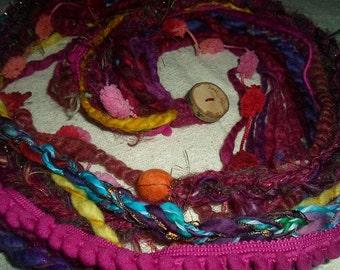 SUPER SALE HaLf PRICE Cowl Scarf Felted Indian Sari Rainbow Scarf Warm Autumn Winter Cosy Crochet Neck Warmer Necklace Snood Handspun Wool