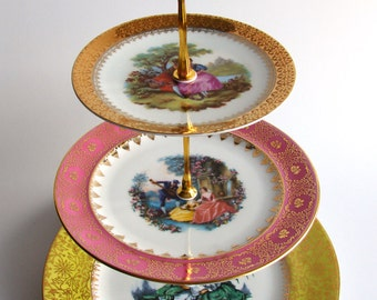 OOH LA LA  3 tier Cake Stand Recycled vintage plates for Cupcakes Cake Jewellery Pink Gold White wedding tea party French Rococco style