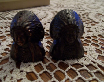Native American Indian Chief Salt Pepper Shakers Souvenir Bronze Plated 1950s   Made in Japan