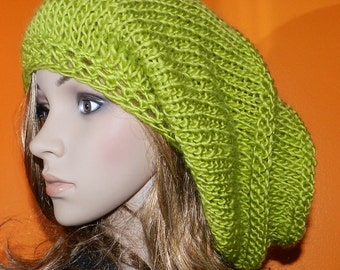 Hand Knittted Extra Long Slouchy Hat, Soft Big Beanie, Rasta Cap - super soft wool/acrylic blend  Green Apple with button on the top