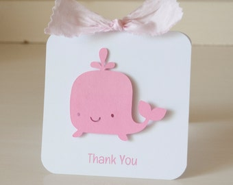 Whale Thank You Cards Notes Invitations Invites Pink and White First Birthday Party