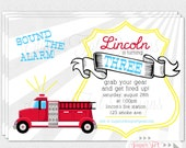 Firetruck Party Invitation, Modern, Retro - 5x7 PRINTABLE