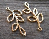 12 Gold Open Leaf Branch Charms 41mm