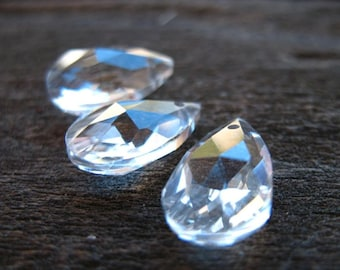 4 Clear Crystal Teardrop Briolettes 16mm