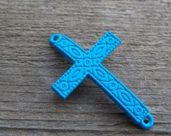 3 Neon Blue Cross Connectors 4.3cm