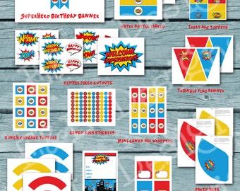 Superhero Birthday Party Package, Superhero Birthday, Instant Download, Printable, Digital