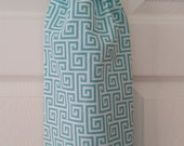 Turquoise & White Greek Key Plastic Grocery Bag Holder