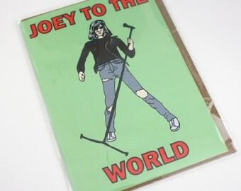 Funny pop culture Joey to the world Joey Ramone Christmas greeting card