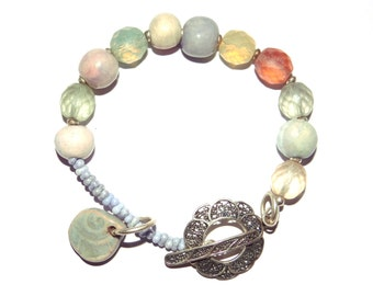 Handmade Pastel Bracelet Beaded Ceramic Fine Sterling Silver Bracelet