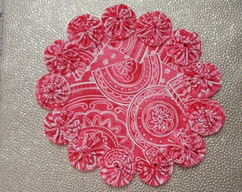 Watermelon Red or Pink Geometric Yo Yo doily-penny rug style candle mat, home decor gift