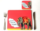NEW - Kids Welsh Coral Red Circus Elephant Boy Melamine Placemat and Coaster Set